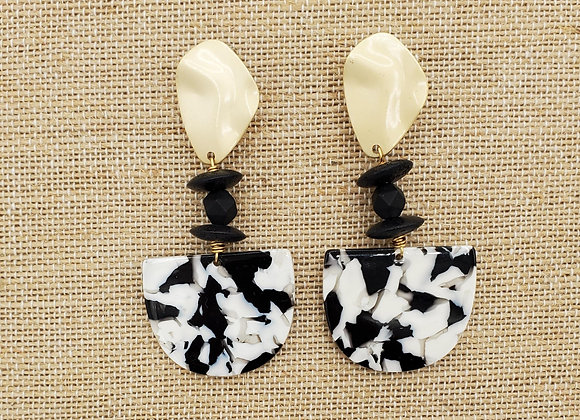 White & Black Resin Mosaic Earrings with Metal Hardware
