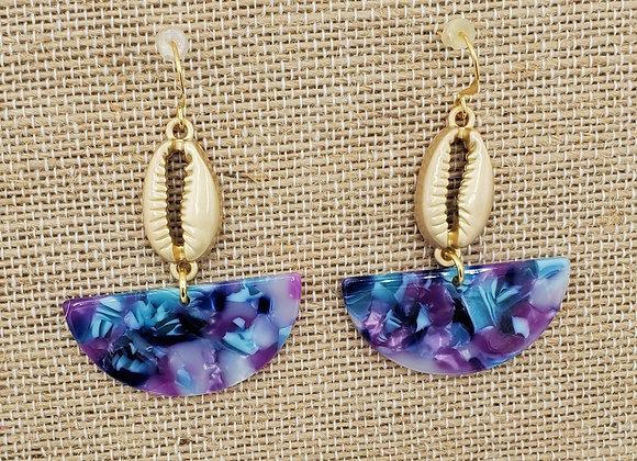 Purple Swirl Cowrie Shell Earrings