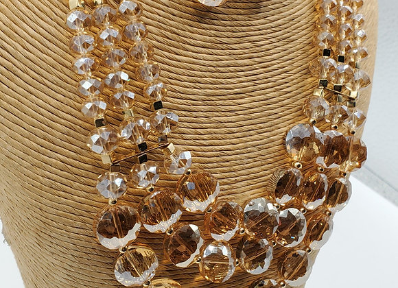 Champagne Crystal Necklace & Earrings Set