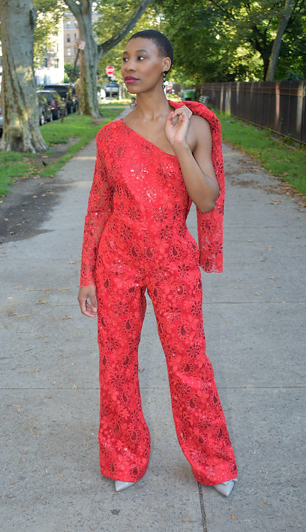 2pc set Red lace jumpsuit with jacket