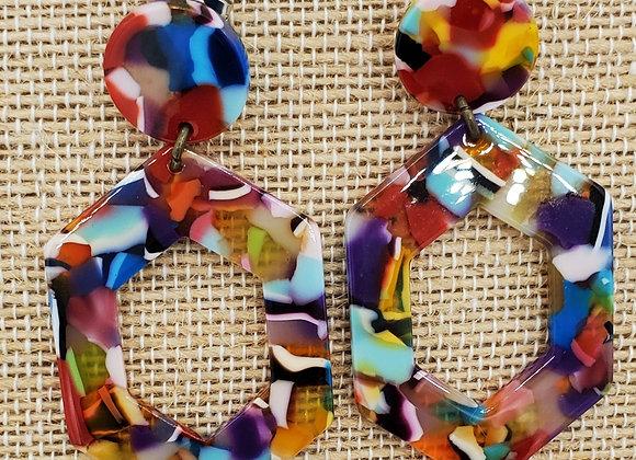 Hexagon Colorburst Earrings
