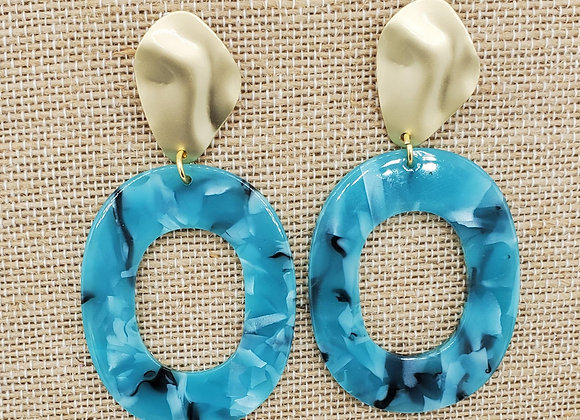 Turquoise Resin Hoops with Gold Hardware