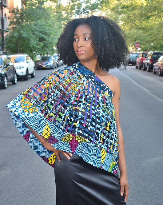 blue multicolor hand woven strips of African  print.  can be an over layer or skirt