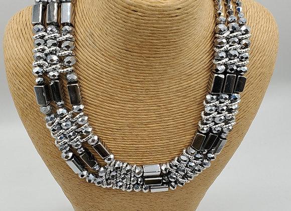 Mixed Metal Platinum Necklace & Earrings Set