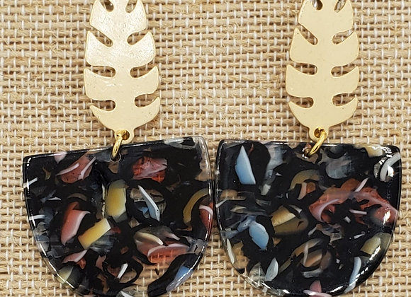 Taste the Tropics ~Gold Leaf & Blackout Resin Earrings