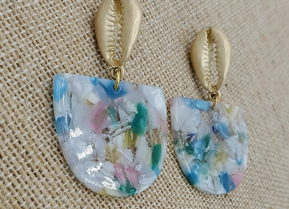 Gold Cowrie Shell Pastel Mosaic Earrings