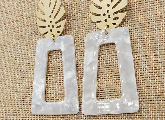 Grey Palm Leaf Earrings