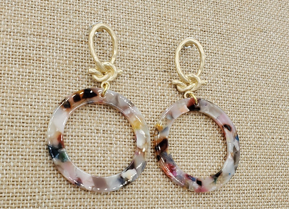 Love Knot & Mosaic Resin Earrings