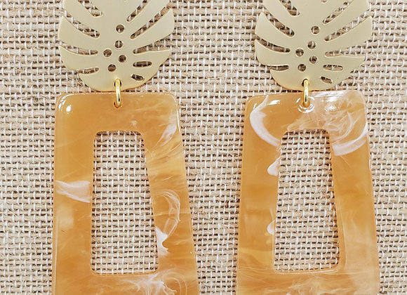 Orange Creamsicle Palm Leaf Earrings