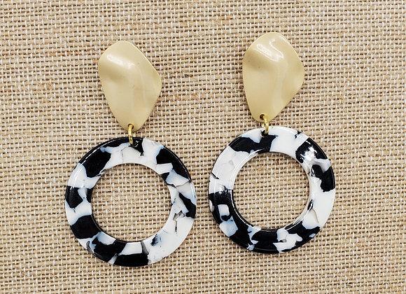 Black & White Resin Hoop Earrings with Gold Hardware