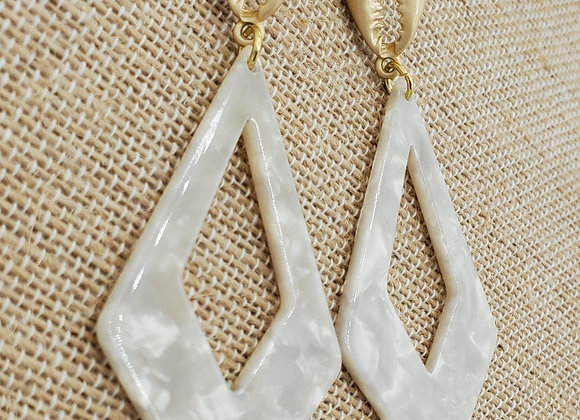 Gold Cowrie Shell & Geometric Resin Earrings