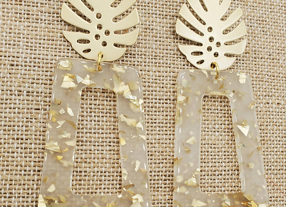 Gold Foil Palm Leaf Earrings