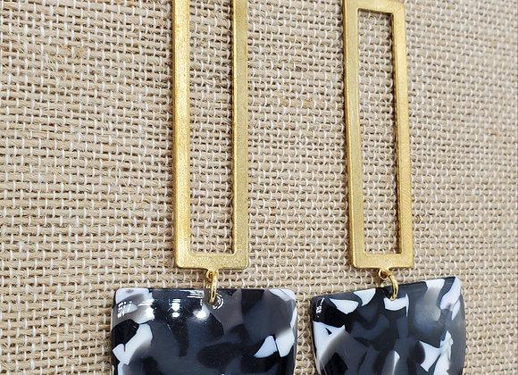 Black & White Resin Earrings with Gold Rectangular Hardware