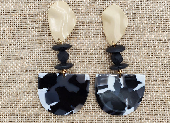 Black & White Resin Mosaic Earrings with Gold Hardware