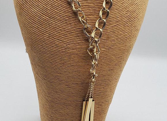 Gold Toggle Fringe Necklace & Earring Set