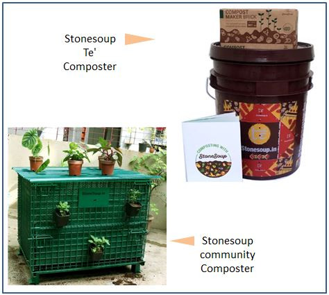 Image Source: https://stonesoup.in/products/aaditi-community-composter-small, https://stonesoup.in/collections/composting-kits/products/te-stackable-aerobic-home-composting-kit