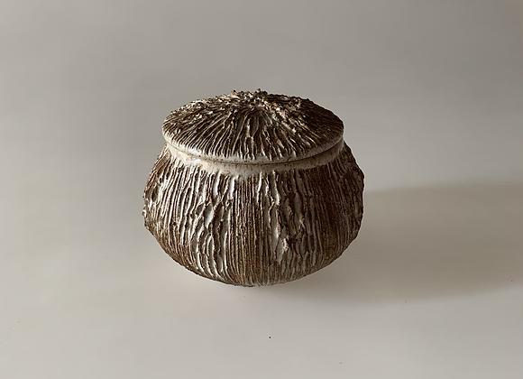 White Carved Jar