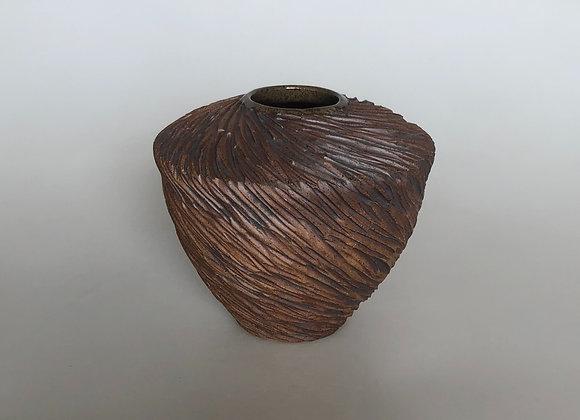Brown Carved Vessel