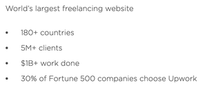 Screenshot from Upwork website.