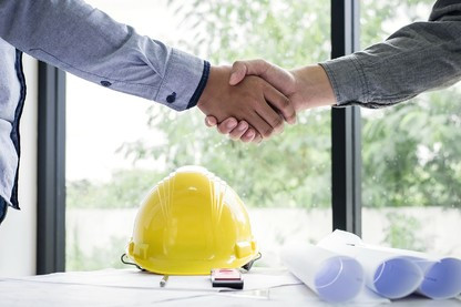 concrete construction handshake