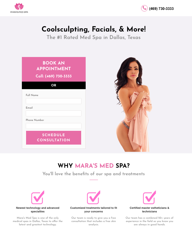 med spa landing page example