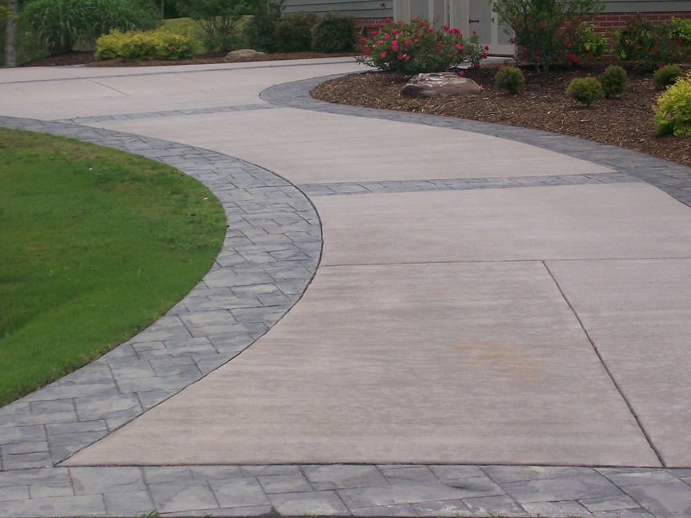 Stamped concrete driveway in Euless, Texas