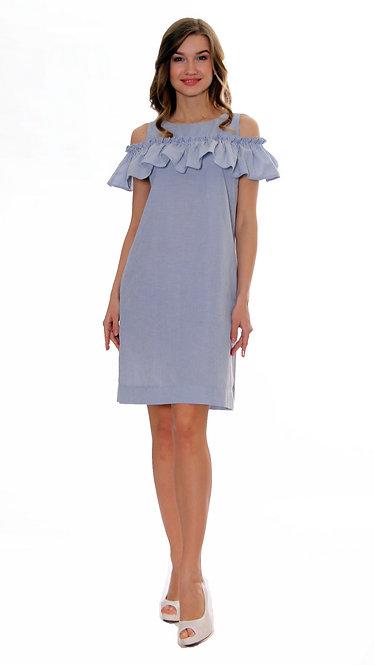 А 367 Платье SHIK полоса голубая