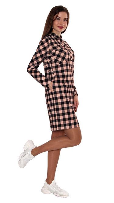 А 705 Платье - рубашка COST розовая