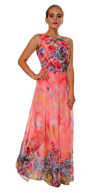 А 533 Платье FAN шифон коралл