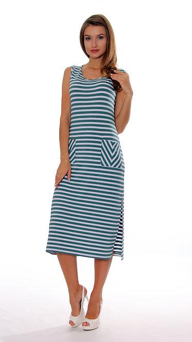 П 794 Платье TAMA Вискоза полоса зеленая