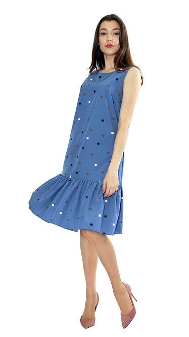 П 827 Платье FAMA софт голубой горох
