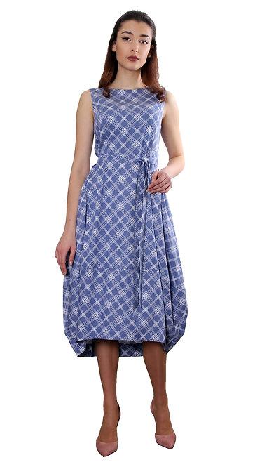 П 770 Платье LILIUM коттон синий ромб