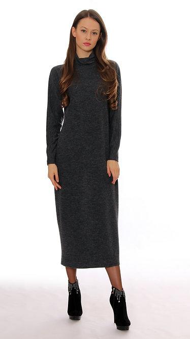 А 404/1 Платье HOLI длинное меланж серый