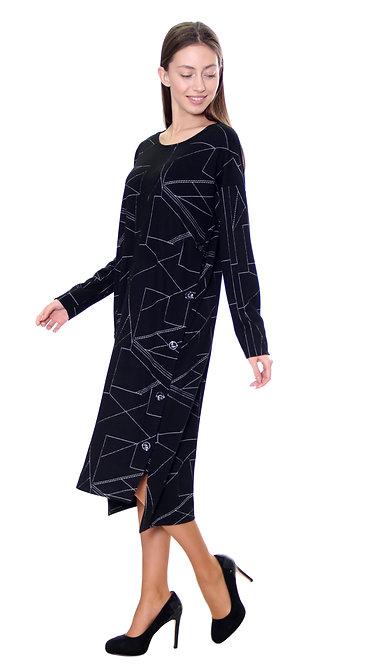 П 871/1 Платье ISSA  черно-белое укороченное