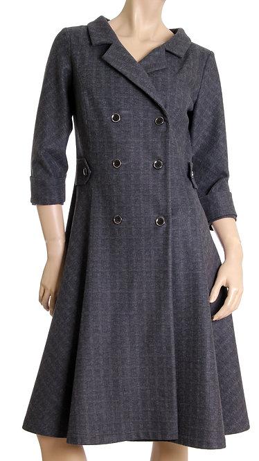А 679 Пальто-Платье YES клетка серая