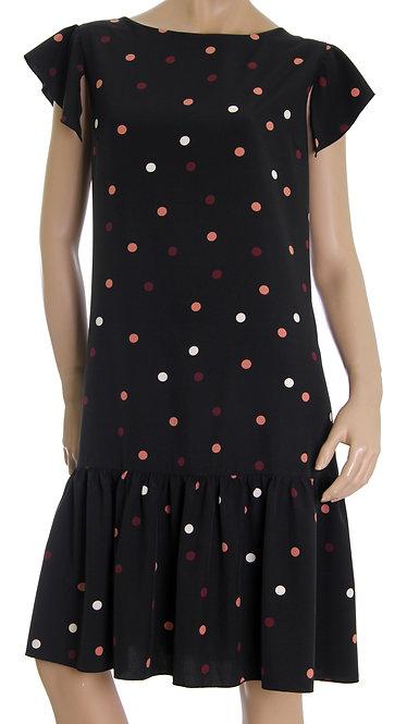 П 835 Платье FAMI софт черный горох