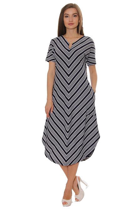 П 773/1 Платье PARK Короткий рукав мелк. полоса