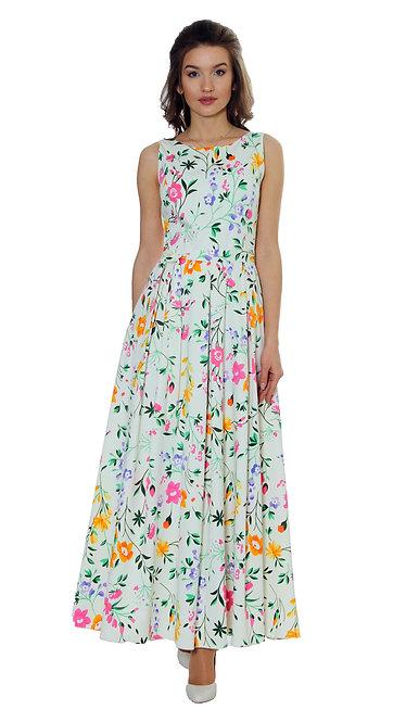 А 275/1 Платье ENIGMA lux коттон крем блеск