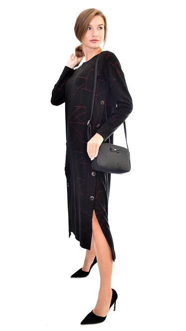 П 871/1 Платье ISSA  черно-красное укороченное