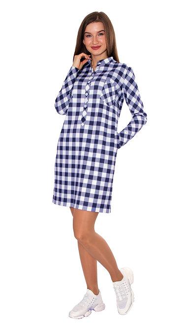 А 705 Платье - рубашка COST клетка сине-белая