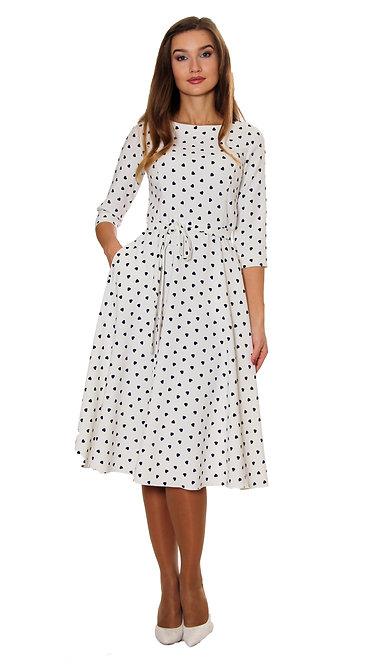 А 507 Платье TAR белый сердечко