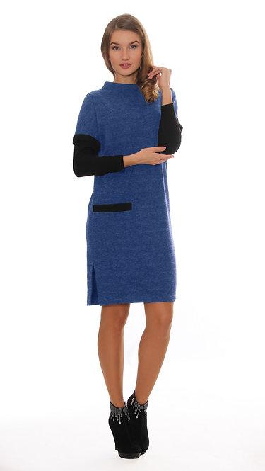 1077 Платье ZAMA твид голубой