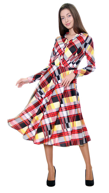 А 586 Платье Lina клетка