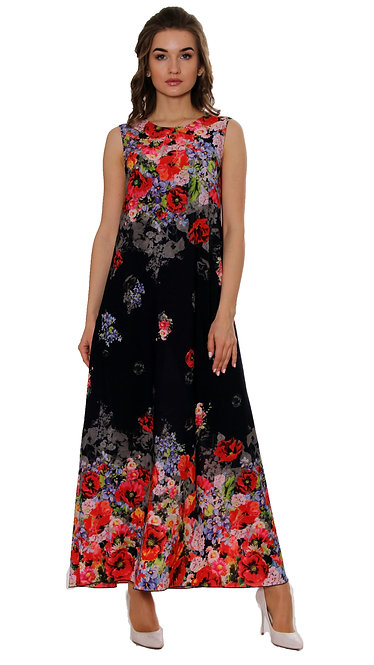 А 525 Платье OMEX шифон синий мак