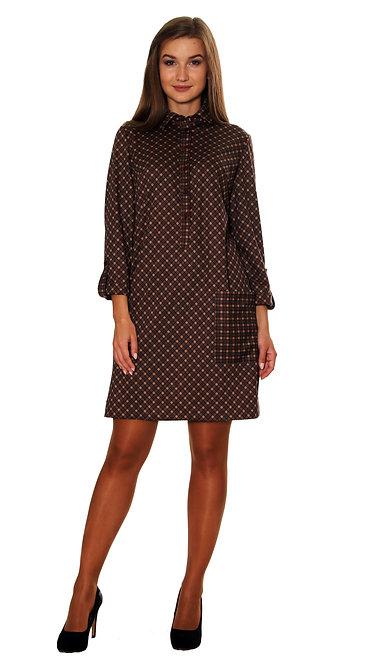 А 487 Платье ESTA жасмин клетка коричневая