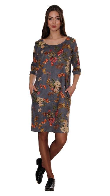 А 595 Платье ROST замш цветы