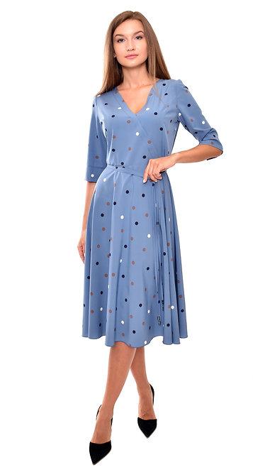 А 638 Платье Din голубое
