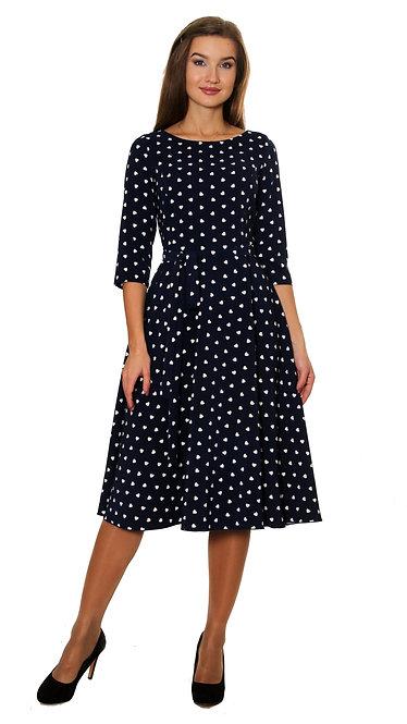 А 507 Платье TAR синий сердечко