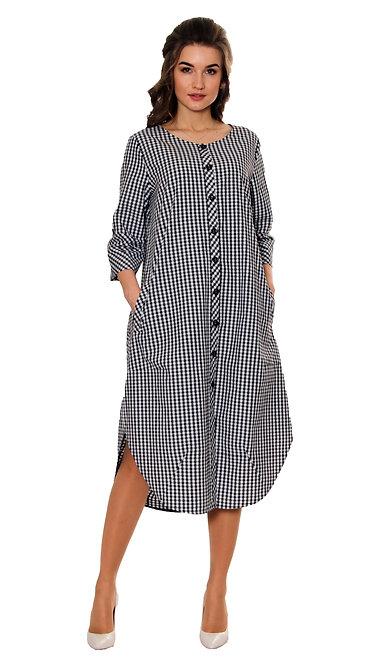 П 845 Платье KAFA коттон клетка мелкая черно-белая