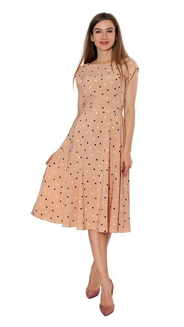 А 507 Платье TAR беж черный горох
